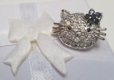 925 Sterling Silver Hello Kitty CZ Stones Brooch Pin NOS Ladies Girls