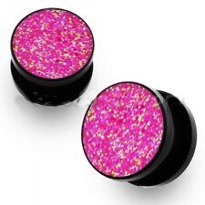PAIR-Glitter Pink Acrylic Screw On Plugs 04mm/6 Gauge Body Jewelry