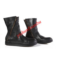 Mid-Calf Boots Round Toe Pull On Men Leather Shoes Casual Side Zipper Retro New