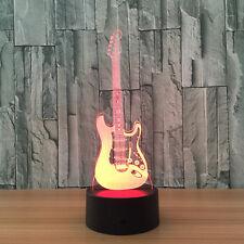 3D Nuit Lumière Lampe Coloré Guitare Basse Instrument Musique Cadeau Maison Neuf