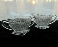 Indiana Glass Clear Sandwich Creamer Pitcher & Open Sugar Bowl