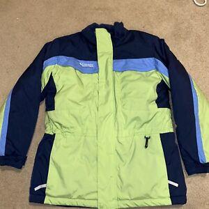Columbia Tectonite Boys Girls Bright Green Blue Snow Ski Winter Jacket 14/16 EUC