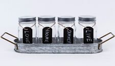 5 Piece Serving Caddy with 4 16 oz Glass Jars & 4 tags Better Homes and Gardens
