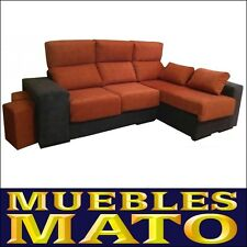 SOFA MEDEAS CHAISELONGUE DERECHO COLOR MARRON Y NARANJA CON 3 PLAZAS