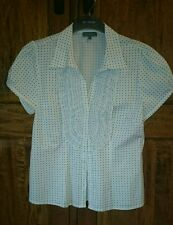 MATALAN ladies fitted white spotted blouse short sleeved Size 14 BNWOT