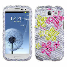 Samsung Galaxy S III 3 Crystal Diamond BLING Case Phone Cover Hibiscus Flowers
