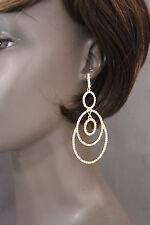 Moda de Mujer Juego Pendientes Oro Metal Plateado Pedrería Círculos Joyería Boda