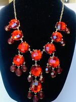 Mid 1900's Red Austrian Crystal Chandelier Vintage Gold Toned Necklace