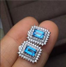 4.20Ct Emerald Cut Aquamarine Diamond Double Halo Earrings 14K White Gold Finish