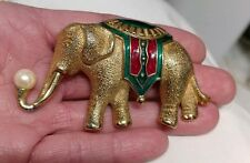 Vintage Monet Exotic Circus Gold Tone Enamel Faux Pearl Elephant Brooch Pin