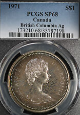 Beauitfully Toned 1971 British Columbia Canada Silver Dollar - PCGS SP68!