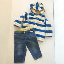 Baby Boden Boy 12m 18m Outfit Fleece Sherpa Zip Up Hoodie Jacket Blue Jeans