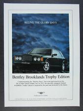 1997 Bentley Brooklands Trophy Edition photo vintage print Ad