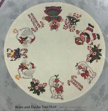 Bears Ducks Counted Cross Stitch Christmas Tree Skirt Kit Candamar NOS Vtg 1989