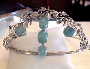 Designer Chistick Custom Victorian 34.97 ct grandidierite diamond Silver Tiara
