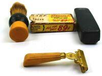 Vintage Gold Schick Shaver Ever-Sharp Injector Razor with Bakelite Handle etc