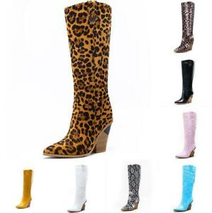 Chic Ladies Pointy Toe Shoes Knee High Boots Block Heel Fashion Pull On Party SZ