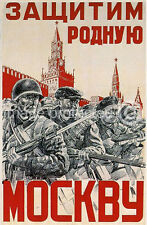 Defend Moscow Russian Soviet WW2 Army Military Poster 18x24