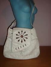 White Leather Flower Metal Studded studs crossbody Purse handbag