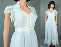 Gunne Sax Prairie Girl Dress XS Vintage Long Light Blue White Cotton Corset Ties