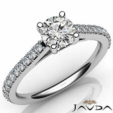 Lustrous Round Diamond Double Prong Set Engagement Ring GIA D SI1 Platinum 0.8Ct