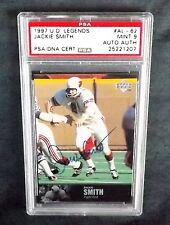 1997 UPPER DECK LEGENDS #AL-62 NFL HOF JACKIE SMITH PSA/DNA SIGNED AUTO PSA 9 NQ