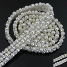 1Yard Faux Pearl Rhinestone Crystal Trimming Bridal Dress Costume Chain Sewing
