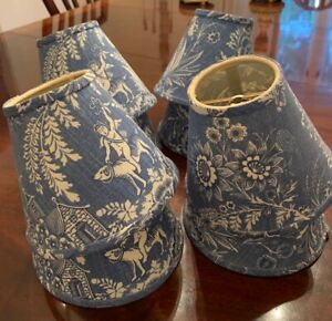 PIERRE DEUX Blue White Toile French Country Chandelier Lampshades Set Of 8
