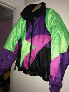 Vtg 80s Neon Color Coldwave Ladies Snowmobile Jacket Puffy Women Small