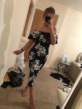 Size 10 Miss Pap Black White Floral Drape Strapless Off Shoulder Bodycon Dress