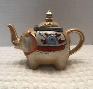 Vintage Lusterware Elephant Teapot Pagoda/ Flowers made in Japan