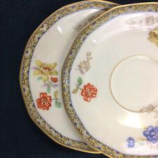 """Theodore Haviland Limoges Ganga Floral Basket Set of 2 Saucers 5 1/2"""" Vintage"""