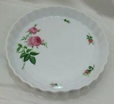 """10"""" Quiche - Tart - Pie Pan Baking Dish Christineholm Porcelain Pink Roses #2"""