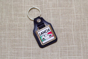 Lancia Y Keyring - Leatherette & Chrome Keyfob