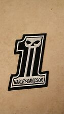 Harley Davidson Racing Number 1 Patch, with Skull