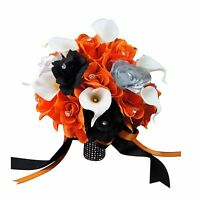 "10"" Wedding Bouquet - Orange, Black, and Silver Faux Roses with Calla Lily"
