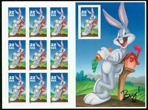 1997 BUGS BUNNY MNH Unfolded Booklet, Sheet 10 x 32¢ Stamps: #3137, Looney Tunes