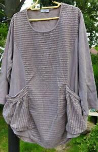 """Moonshine"" lässige Lagenlook Tunika/Shirt; Gr. 1/42/44/46 taupe;100% Baumwolle"