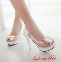 Hot Womens High Stiletto Heel Peep Toe Ankle Party Prom Evening Court Shoes size