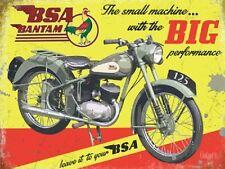 BSA Bantam, Big Performance Motorcycle, Vintage Old Garage Medium Metal Tin Sign