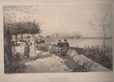 gravure eau-forte Muiden Nord Holland par G.H.Boughton gravée par E.Artigue.