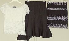 Caroline Morgan 3pc LOT Black SKIRTS + White LACE TOP  NEW! ~ Women sz S / 27W