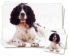 Black and White Springer Spaniel Twin 2x Placemats+2x Coasters Set in , AD-SS7PC