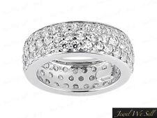 Genuine 2.50Ct Round Diamond 3Row Pave Eternity Wedding Band Ring Platinum G SI1
