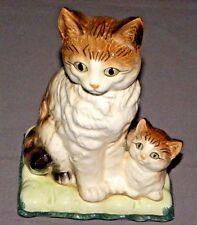 "Vintage Mother Cat & Kitten Figure 1970s Statue 7"" Porcelain Japan Green Base"