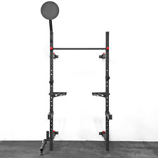 Wall Mount Foldable Squat Rack w/ Pullup Bar, Wall Ball Target, Landmine, & More
