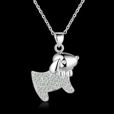 Girls 25 Sterling Silver Filled Cute Puppy Dog Pendant Necklace With Zircon Gift