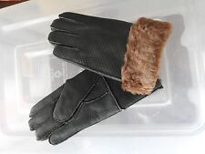 dark brown ladies women 100% genuine real leather sheepskin gloves mittens
