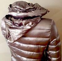 ZARA Woman Ultra Leicht Daunen Jacke ❄️NEU ! Silber mit Kapuze - S