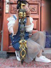 "36""Huge Old Tibet buddhism bronze gilt Mahakala buddha Dorje Vajra Phurpa dagger"